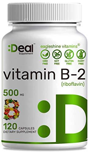 Ealge Shine Vitamins Vitamin B2 500mg (Riboflavin), 120 Capsules, Support Energy Production & Migraine Relief, Non-GMO, No Gluten, Made in USA