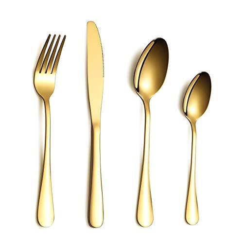 Kyraton Juego de cubiertos de acero inoxidable de 24 piezas, baño de titanio dorado, resistente a la oxidación, servicio de juego de cubiertos de oro para 6