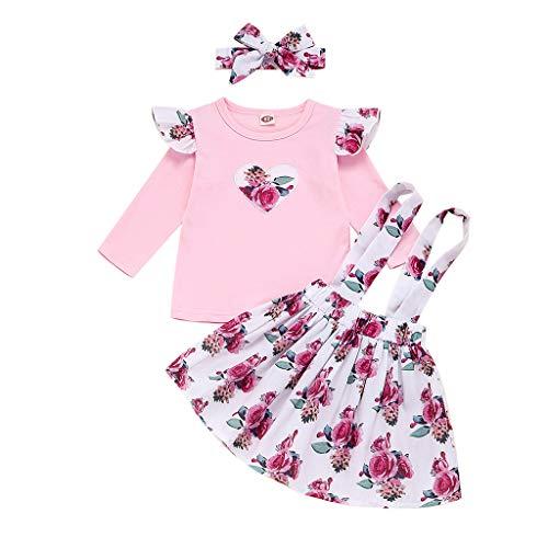 Kleinkind Kinder Baby Mädchen Floral Tops Hosenträger Röcke Stirnbänder Valentine Outfits