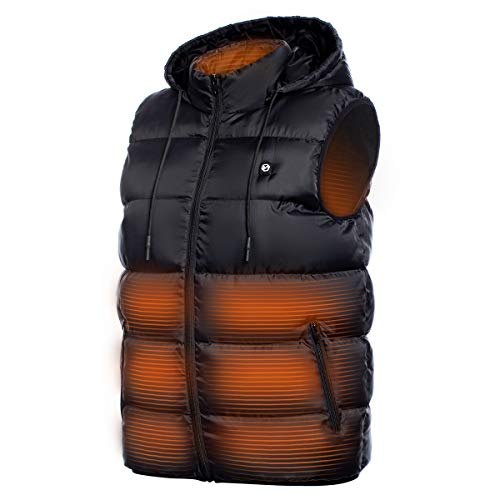 Foxelli Heated Vest - Lightweight USB Rechargeable Heated Vest for Men with Battery Included, Black,...