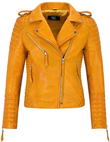 Smart Range Leather Co. Ltd. Giacca in Pelle da Donna Classico Stile da Motociclista 100% Vera Pelle Napa 2260 (12 for Bust 82cm, Yellow)