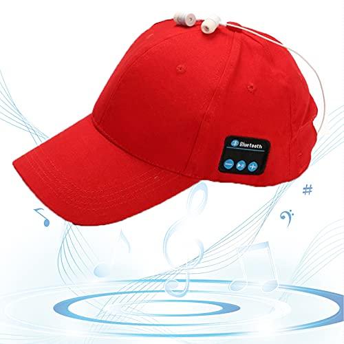 Gorro Bluetooth, Gorra de Música Bluetooth, Gorra de Béisbol Sonido HD, Espera Larga, Sombrero para Sol, Regalos Cumpleaños para Amigos, Familias,Rojo