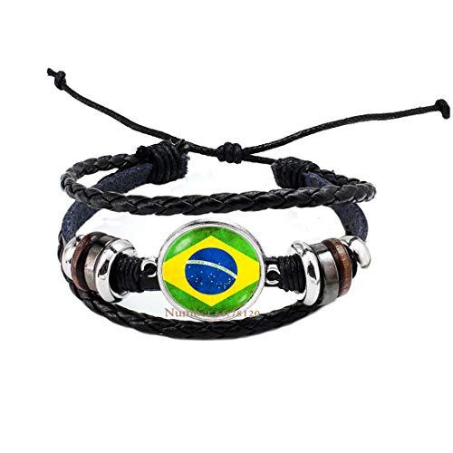 Yijianxhzao Flag of Brazil Bracelet,Brazilian Flag Jewelry,Country Flag,Brazilian Patriotic Bangle,South America,BV024