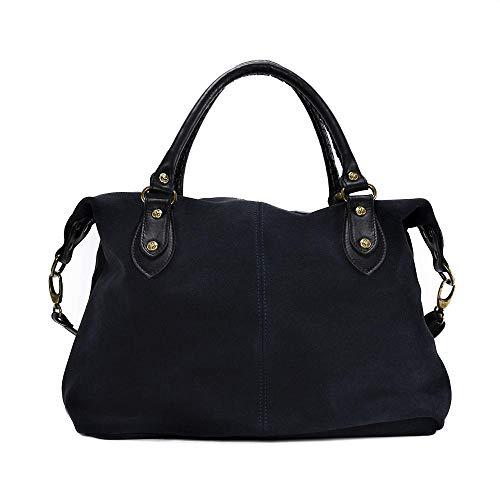OH MY BAG, borsa modello PHI-EN in vera pelle nabuk portata, spalla e mano e tracolla, prodotta in italia, da donna, elegante, colore: grigio scuro, taglia unica, (Bleu Foncé), Taglia unica