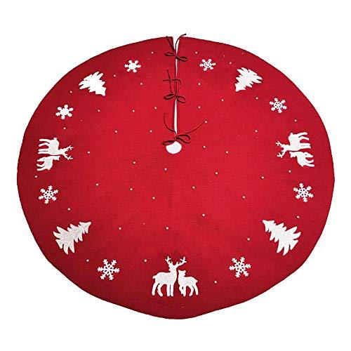 Submarine Baumdecke Weihnachtsbaum Rock Rot Gestrickte Tannenbaumdecke Weihnachtsbaumdecke Christbaumdecke 122cm Rund Teppich Baumrock Perfekt Weihnachtsdeko, um den Tannenbaumständer Abzudecken