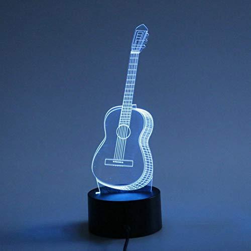 Yujzpl 3D-illusielamp Led-nachtlampje, USB-aangedreven 7 kleuren Knipperende aanraakschakelaar Slaapkamer Decoratie Verlichting voor kinderen Kerstcadeau-Eenvoudige gitaar