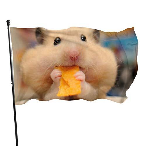 N/A American Guard Vlag Banner Home Vlaggen Hamster Eten Franse Fries Verticale Garde voor Familie Patio College Decoratie 3x5 Voet