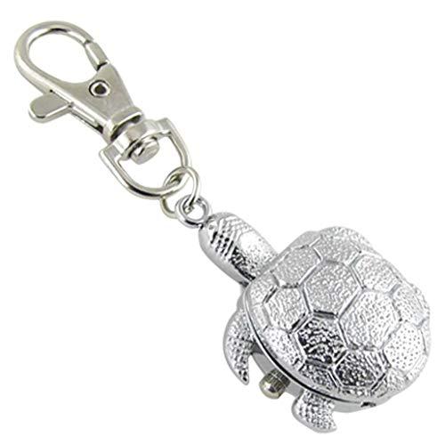 PRINDIY Silberfarbenes Metall Uhr Schlüsselanhänger Taschenuhr