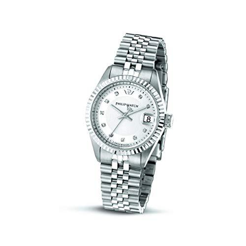 Philip Watch Reloj para Mujer, Colección Caribe, Movimiento de Cuarzo, Solo Tiempo con Fecha, de Acero y Diamantes Naturales - R8253597564