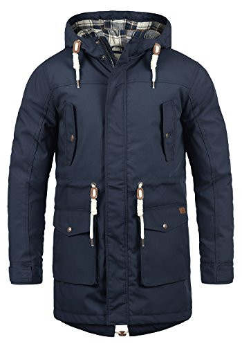 !Solid Chara Herren Winter Jacke Parka Mantel Lange Winterjacke gefüttert mit Kapuze, Größe:M, Farbe:Insignia Blue (1991)