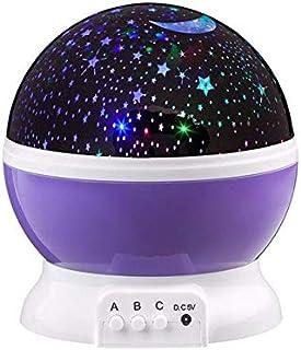 كشاف USB اضاءة ليلية للاطفال والرضع، جهاز عرض براق بنمط القمر والسماء والنجوم لاضاءة ليلية، من لوميناريا