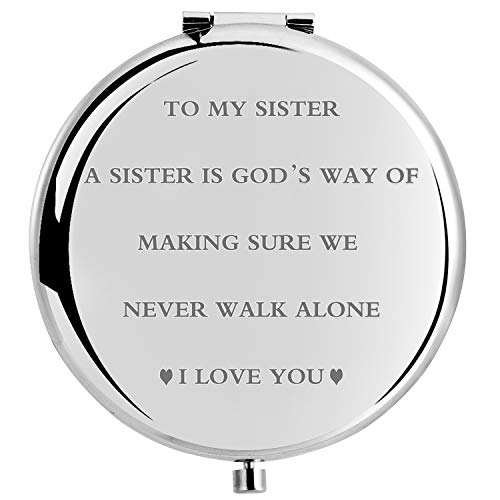 wompolle Best Sister Gifts from Sister Birthday Gifts for Big Sister,Novelty Gift Ideals for Sister from Brother Unique Birthday Gift for my sister,Personal Makeup Mirror 2.6inch (to my sister)