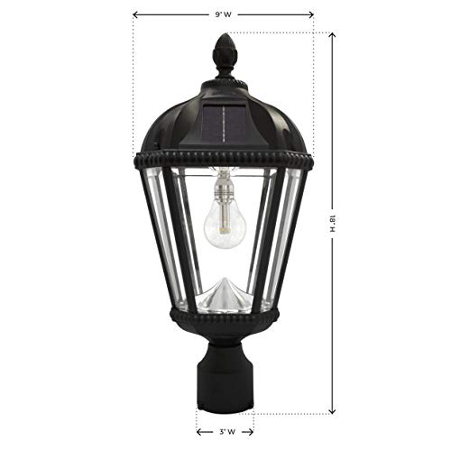 Gama Sonic GS-98B-F-BLK Royal Bulb Lamp Outdoor Solar Light Fixture, 3