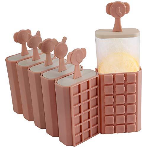 HONZUEN 6 Eisformen EIS Am Stiel Formen Stapelbar Eisform - BPA Frei Wiederverwendbar Eisformen Popsicle Formen Eisförmchen mit Stiel, Stieleisformer für Kinder und Erwachsene, Rosa