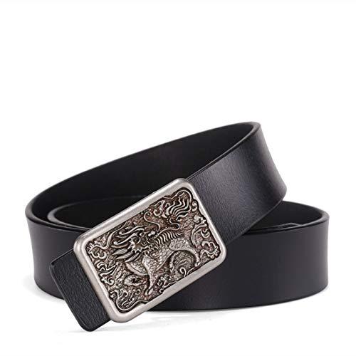 Xme Cinturón de cuero con hebilla lisa retro de los hombres, cinturón de cinturón de pantalón fresco casual de moda