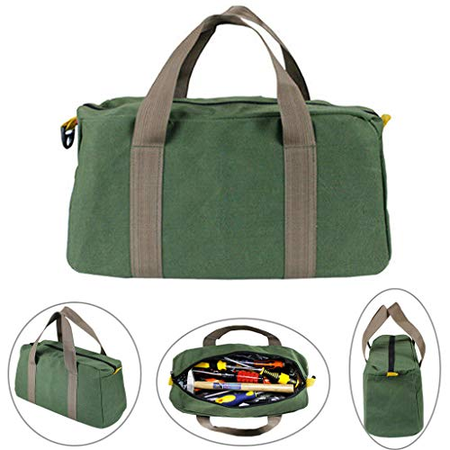 Gaddrt Portable Zipper Tool Bag Pouch Canvas Organizer Storage Small Parts Hand Tool for Plumber Electrician Hardware Accessories Storage (16 inch)