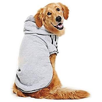 DULEE Sweat à Capuche Grand Chaud Coton Sweatshirt pour Chiens Pet Pull Vêtements Veste pour Chien Manteau Jumpsuit Costume