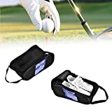 Acogedor Shoe Bags,Travel Golf Shoe Organizer Bags/Boxes, Breathable Nylon with Zipper Sports Shoes Bags, High Grade Double Zipper,Breathable Mesh,Suitable for Sports and Home Use. (Black)(B)