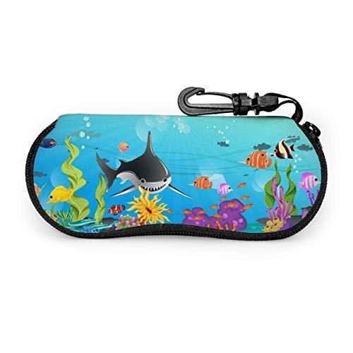 Hermoso océano con pastos marinos Coral Sharks Estuche para gafas Estuche para gafas de sol Estuche para gafas de neopreno ultraligero con cremallera y mosquetón Personalizado