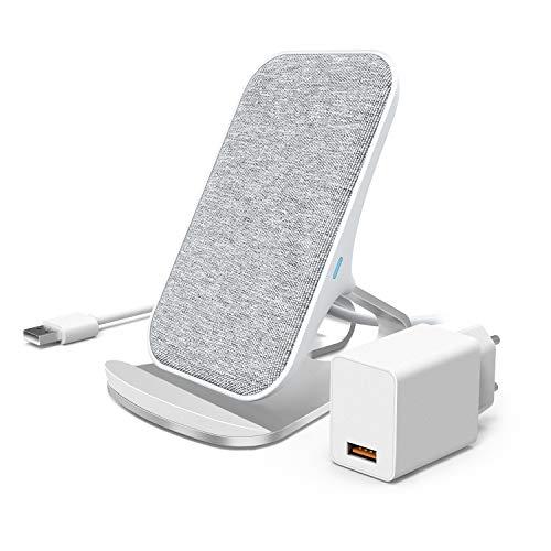 Lecone Caricatore Wireless mit Adattatore, 10W Supporto di Ricarica Wireless Qi Compatibile con iPhone 11/XR/XS Max/XS/X, Ricarica Rapida per Samsung Galaxy S10/Note10/S9/S9+/S8+/Nota 9
