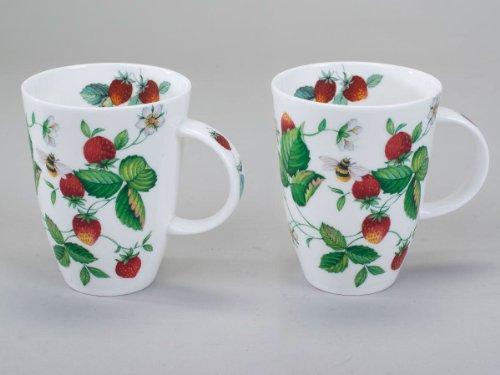 Geschmackvoller Becher Louise Erdbeeren 12cm aus Bone China 350ml