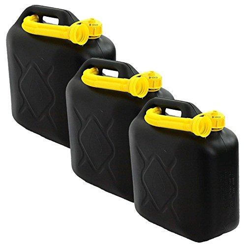 SIDCO Benzinkanister 3 x 10 L Kraftstoffkanister Reserve Kunststoff Kanister UN-Zulassung