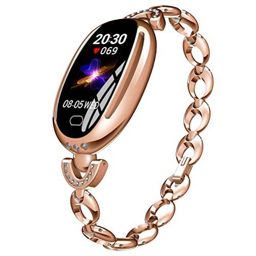 Ladies Smartwatch, Reloj Deportivo Inteligente con La Función De Monitoreo De HRV De ECG De Todo Clima PPG para Prevenir La Infección por El Virus Y Mejorar El Temperamento,Oro