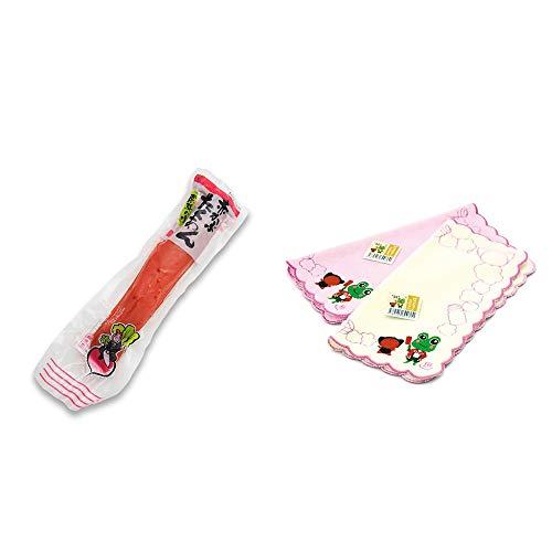 [2点セット] 赤かぶたくあん(220g) ・下呂温泉限定 さるぼぼ&げろぐるくん ふわふわタオルハンカチ【ピンク】