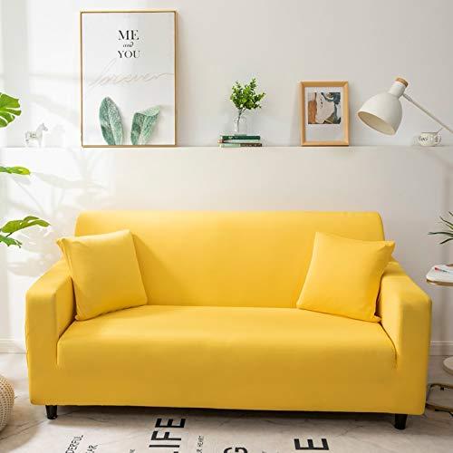 ASCV Funda de sofá de Color sólido para Sala de Estar Blanca como la Nieve Funda de sofá elástica a Prueba de Polvo Funda de sofá Toalla de sofá elástica A4 4 plazas