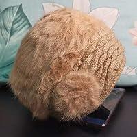 GUOCAO ソフト帽 旅着 帽子の女性の秋と冬の暖かいウサギの帽子韓国のファッションすべての試合ニットの女性の帽子の母親と祖母の帽子のベレー帽 (Color : Khaki, Hat Size : One Size)