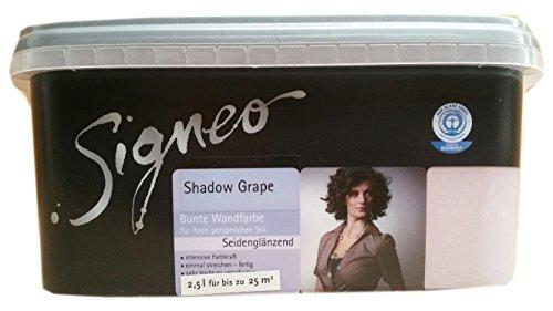 Signeo 2,5 L. Bunte Wandfarbe, SHADOW GRAPE, seidenglänzend, elegant-schimmernde Oberflächen, Innenfarbe