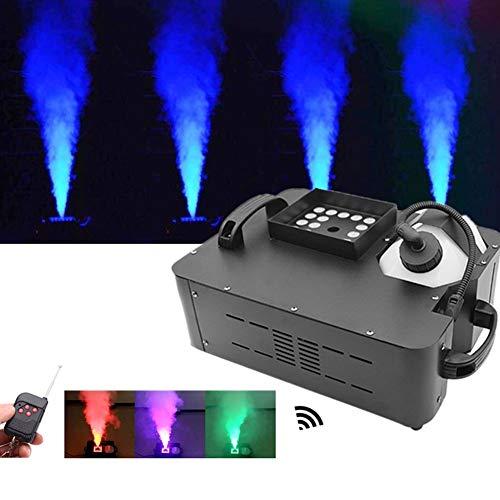 SJTL Vertikal Nebelmaschine 1500W Mini Nebelmaschine mit Bunte Lichter LED und Drahtlose Fernbedienung für Halloween Hochzeit Theater Party Disco Club DJ Lichteffekt 39 * 30 * 19 cm