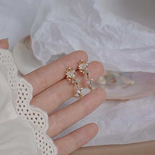 NIUBKLAS 14k joyería de Moda chapada en Oro Real Hojas de Cristal Flor exquisitos Pendientes de botón para Mujer Pendiente Elegante de Fiesta de Vacaciones