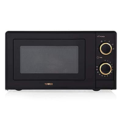 Tower Manual Solo Microwave with 6 Power Levels, 30 Minute Timer, Defrost Function, Stainless Steel Interior by