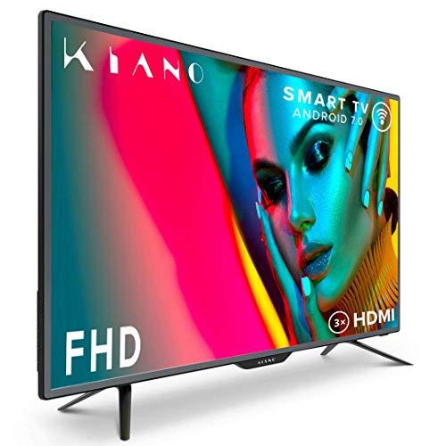 Téléviseur Kiano Slim TV 40 Pouces Smart TV [100 cm Full HD] (Triple Tuner, DVB-T2, CI+) Android TV, Netflix, Youtube, HBO, Téléviseur 40' TV 40 (PVR, HDMI, LED, FHD) Énergétique A