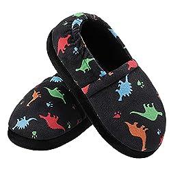 4. MIXIN Kids Slip-on Memory Foam Dinosaur Slippers