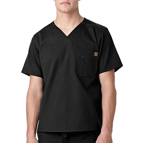 Carhartt Men's Solid Ripstop Utility Scrub Top, Black, Large
