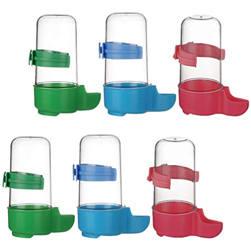 Balacoo 6pcs Automatic Bird Waterer Food Feeder Bird Water Bottle Drinker Food Container Dispenser Hanging Birds Cage for Parrots Budgie (Red Blue Green)