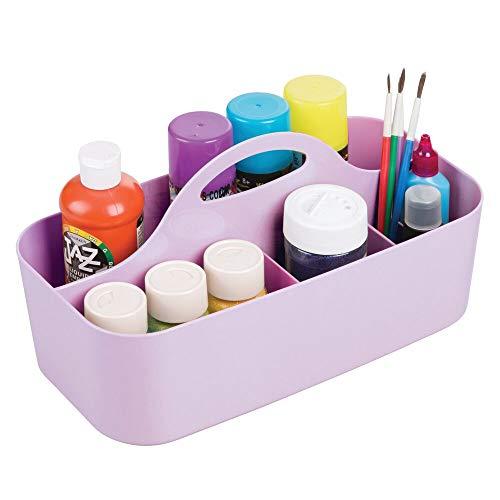 mDesign Caja con asa portátil de plástico – Organizador con 11 apartados para utensilios para manualidades o costura – Cesta con asa de plástico para lápices, botones, tijeras, pinturas, etc. – lila