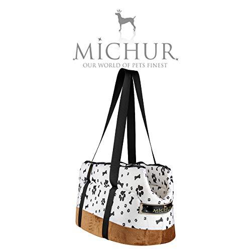 Michur Trend hundetransportbox, hundetragetasche, Hunde Transport Auto, katzentransporttasche, hundetransporttasche, Handtasche, Tragetasche, Weiss, braun, 46 x 27 x 26 cm