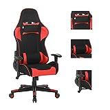 Gaming-Stuhl, Computerstuhl, Heimbürostuhl, Studentenwohnheim, Spiel-Rückenlehne, bequemer Sitzstuhl, Rot + Schwarz