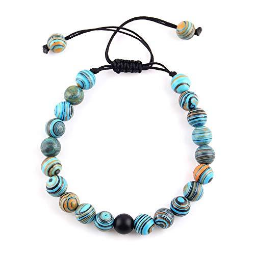 WDAIJY Pulsera Mujer,Pila Pulsera Malaquita Ojos De Tigre Mezclar Piedra Natural Beads Macrame Pulsera para Hombres Joyas Mens Street Style