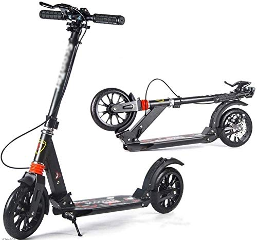 WSJYP Stunt Scooters Scooter Portátil para Montar al Aire Libre, Patinete para Adultos con Ruedas Grandes, Freno de Disco Mano, Doble Suspensión Plegable,Black