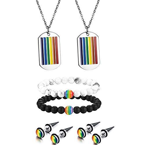 Aroncent Sets de Joyerías Collares de Placa Color Arcoiris Pendientes Forma de Remaches Acero Inoxidable de Multicolores Pulseras Cuentas de Ojo Blanco Negro Bisuterías para Gay Pride LGBT Arco Iris