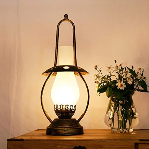 Schmiedeeisen Nachttischlampe Bürolampe Industrie Schreibtischlampe Tischlampe Glasschirm Petroleumlampe Laterne E27 mit Schalter Schlafzimmer Dekorative Beleuchtung Augenschutz,Gold,18*46cm