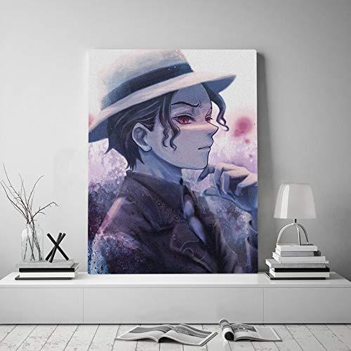 wopiaol Kein Rahmen Muzan Kibutsuji Kimetsu no Yaiba Anime Leinwandplakat Malerei Wandkunst Dekor Wohnzimmer Schlafzimmer Studie Home Decoration Prints