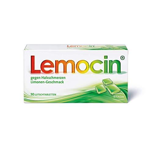 Lemocin Halsschmerztabletten - Lutschtabletten mit Limonengeschmack für Erwachsene und Kinder ab 5 Jahren - bei Beschwerden im Hals- und Rachenraum schmerzstillend und entzündungshemmend - 1x50 Stück