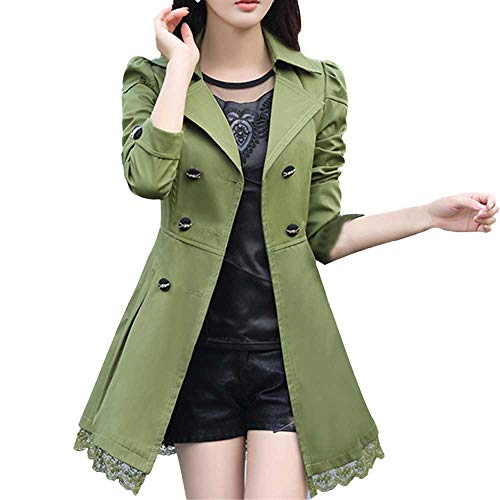 WOCACHI Womens Trench Coat Wool Blend Coats Bowknot Sashes Jacket Solid Outwear Winter Outerwear Warm Parka Cotton Padded Jackets Big (Army Green, Medium)