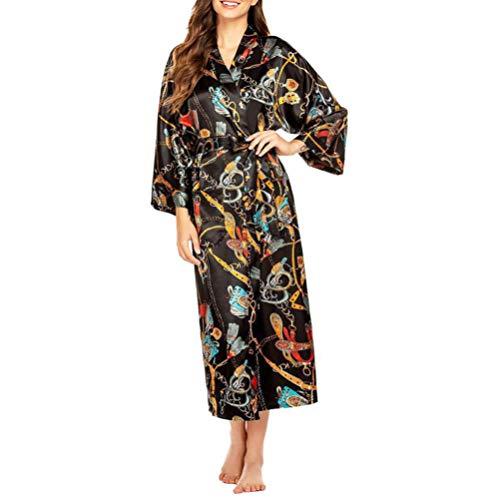 KESYOO Womens Satijnen Gewaad Nachtkleding Zijde Lichtgewicht Lange Gewaden Lange Print Kimono Gewaad Nachtkleding Voor Thuis Vrouwen Vrouwelijke (M) Roze