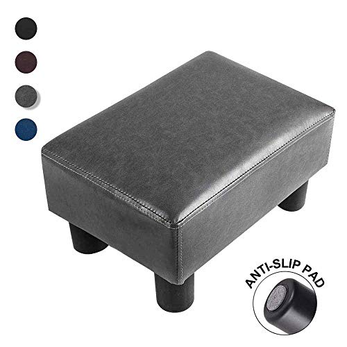 GRUNEN WOLKEN Footrest Small Ottoman Stool PU Faux Leather Modern Rectangle Seat Chair Footstool Gray